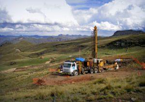 Tinka Resources drill rig at Ayawilca