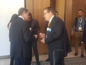 Mining Review - Neometals' CEO Chris Reid talking to Robert Friedland at the Battery Metals conference in Cape Town.