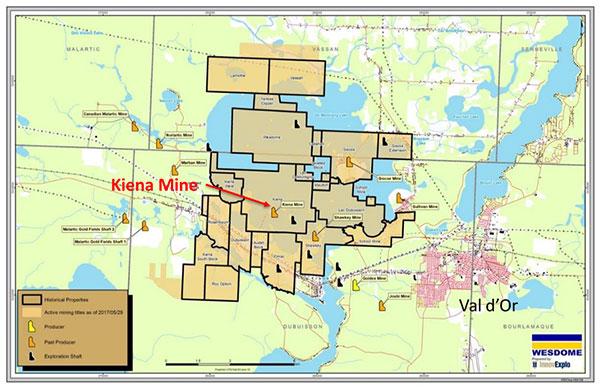 Wesdome - Kiena complex map