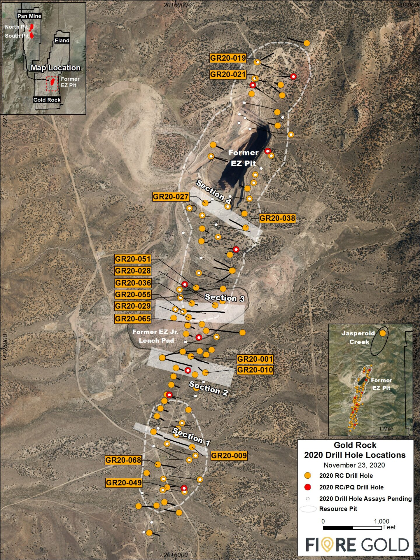 Fiore Gold Nevada project map
