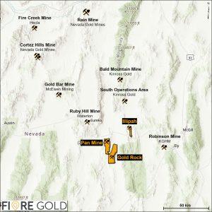 Fiore Gold mine location map