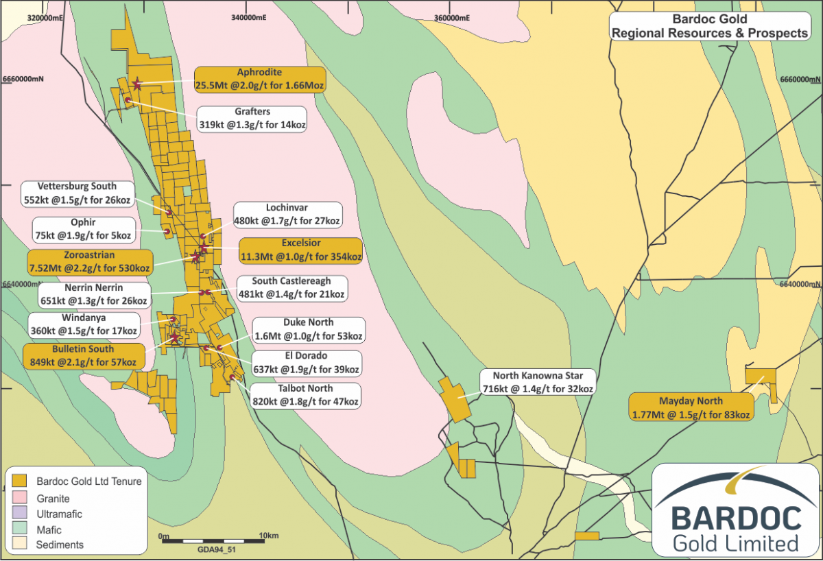 Bardoc Gold project map