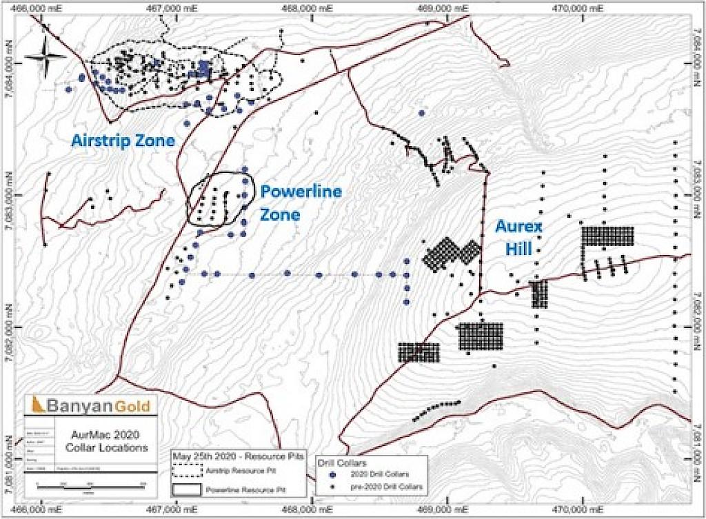 Banyan Gold Aurmac Exploration map