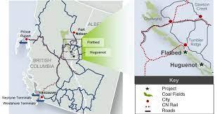 Colonial Coal project map, Peace River Basin, British Columbia